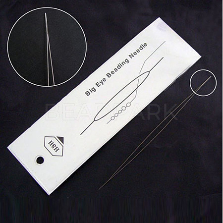 Stainless Steel Big Eye Beading NeedlesES001Y-01-1