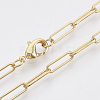 Brass Round Oval Paperclip Chain Necklace MakingMAK-S072-04A-G-1