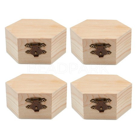 Unfinished Pine Wood Jewelry BoxCON-WH0072-07-1