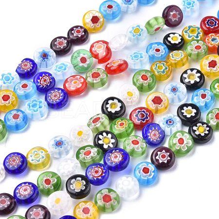 Flat Round Handmade Millefiori Glass BeadsX-LK-R004-54-1