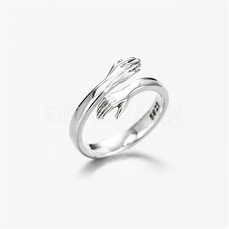 SHEGRACE Adjustable 925 Sterling Silver Couple Rings for WomanJR828A-01-1