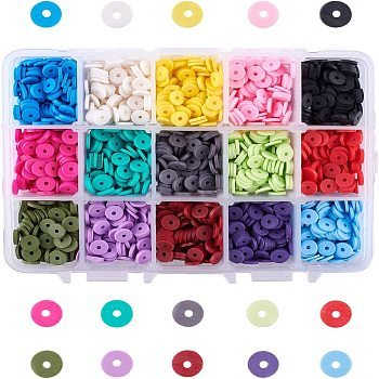 15 Colors Eco-Friendly Handmade Polymer Clay Beads, Disc/Flat Round, Heishi Beads, Mixed Color, 6x1mm, Hole: 2mm, about 2850~3000pcs/box