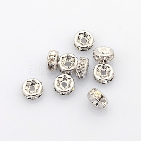 Brass Rhinestone Spacer BeadsX-RB-A014-Z6mm-01P-NF-1