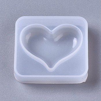 Silicone Molds, Resin Casting Molds, For UV Resin, Epoxy Resin Jewelry Making, Heart, White, 42x47x12mm