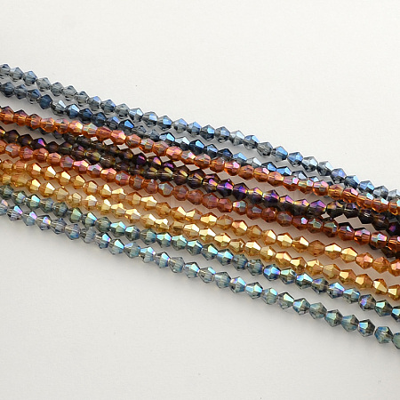 Electroplate Glass Bead Strands X-EGLA-R094-4mm-M2-1
