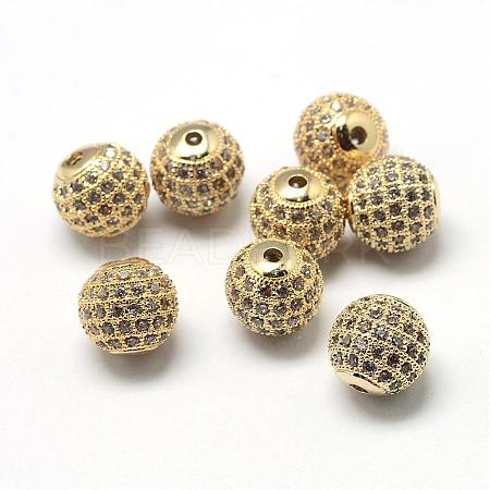 Rack Plating Brass Cubic Zirconia Beads ZIRC-S001-8mm-A01-1