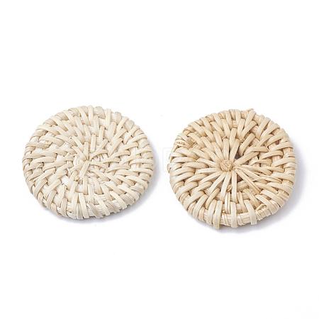 Handmade Reed Cane/Rattan Woven BeadsX-WOVE-Q075-20-1