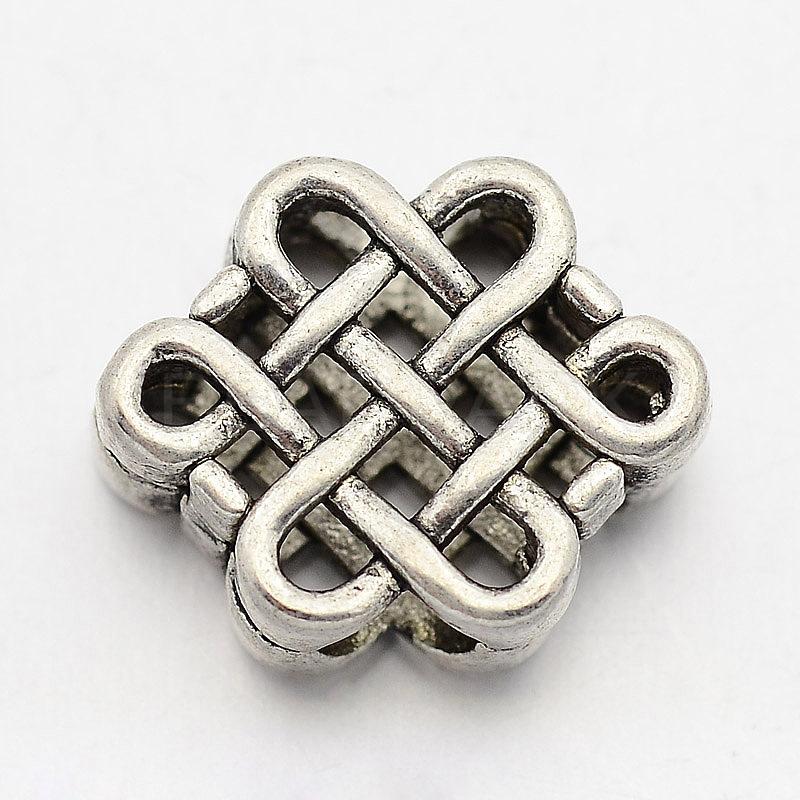 Kk Diamond Centre Kuching Kkdc Home: Brass Chinese Knot Beads, Antique Silver, 9x11x4mm, Hole