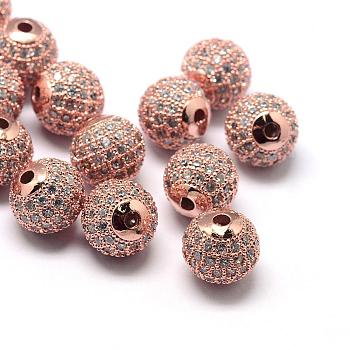 Rack Plating Brass Cubic Zirconia Beads, Long-Lasting Plated, Round, Rose Gold, 8x7mm, Hole: 2mm