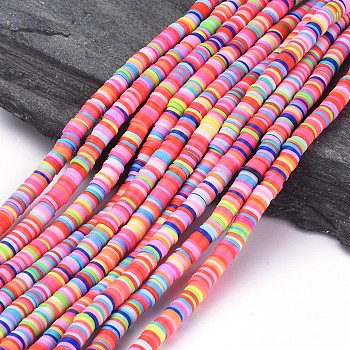 Handmade Polymer Clay Beads, Disc/Flat Round, Heishi Beads, Mixed Color, 6x1mm, Hole: 2mm; about 380~400pcs/strand, 17.7inches