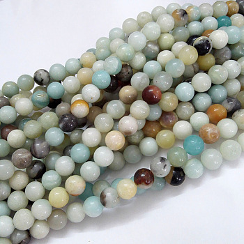 Natural Amazonite Beads Strands, Round, 6mm, Hole: 1mm; about 61pcs/strand, 15.5''(39.5cm)