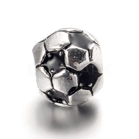 Large Hole Football Alloy Enamel European BeadsX-MPDL-L013-02B-1