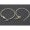 Golden Brass Earring Findings HoopsX-EC108-3NFG-1