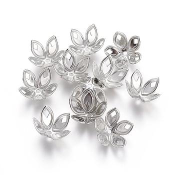 Iron Beads Caps, Flower, Platinum, 16x18x9.5mm, Hole: 1.6mm