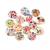 2-Hole Printed Wooden Buttons X-WOOD-E011-01-1