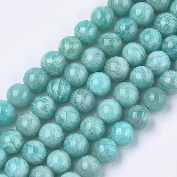 Natural Amazonite Beads Strands, Grade A, Round, 8mm, Hole: 1mm; about 23~25pcs/strand, 7.6