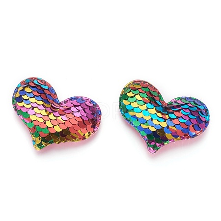 Glitter Sequins Fabric Heart Padded Patches X-DIY-WH0083-A02-1