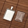 Alloy Rectangle Pendant Cabochon Settings and Transparent Rectangle Glass Cabochons DIY-X0234-AS-RS-2