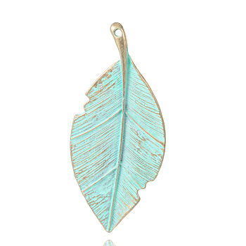 Leaf Alloy Big Pendants, Nickel Free, Antique Bronze & Green Patina, 82x36x3mm, Hole: 2mm