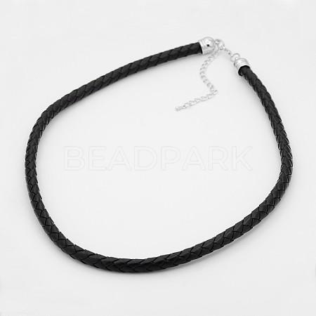 Braided Leather Cord NecklacesNJEW-J023-18-1