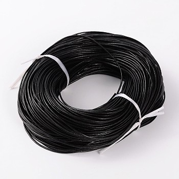 Cowhide Leather Cord, Leather Jewelry Cord, Black, about 2.0mm thick