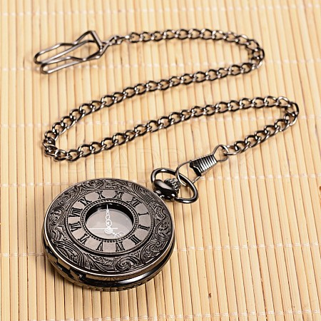 Openable Flat Round Alloy Pendant Pocket WatchWACH-L024-16-1