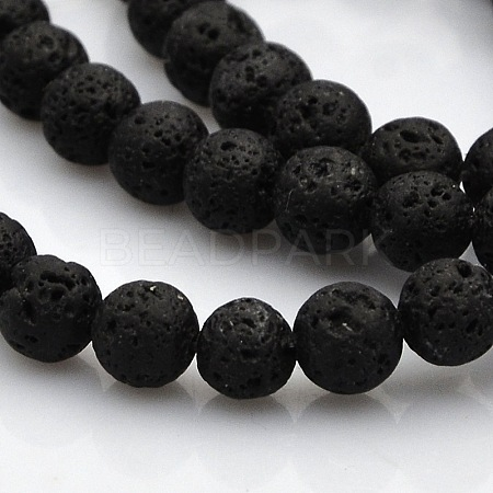 Natural Lava Round Beads Strands G-N0120-18-6mm-1