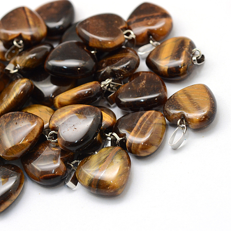 Heart Natural Tiger Eye Pendants X-G-Q371-06-1