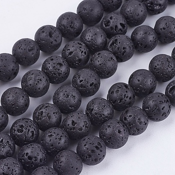 Natural Lava Stone Bead Strands, Round, 8mm, Hole: 1mm; about 50pcs/strand, 15.7