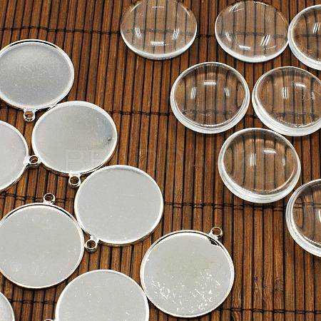 PandaHall Elite 25mm Transparent Clear Domed Glass Cabochon Cover for Brass Photo Pendant MakingKK-PH0034-47S-1