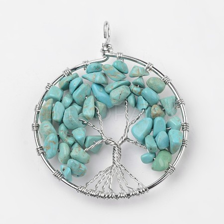 Tree of Life Synthetic Turquoise Big Pendants X-G-L455-D01-1