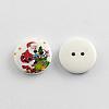 2-Hole Santa Claus Printed Wooden ButtonsX-BUTT-R032-059-2