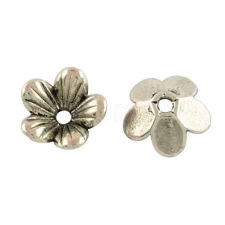 Tibetan Style Flower Alloy Bead Caps X-TIBEP-S192-AS-RS-1