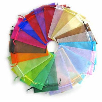 Organza Gift Bags, with Drawstring, High Dense, Rectangle, Mixed Color, 90x70mm