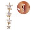 Piercing Jewelry Real 18K Gold Plated Brass Star Cubic Zirconia Navel Ring Belly Rings AJEW-EE0001-94-3