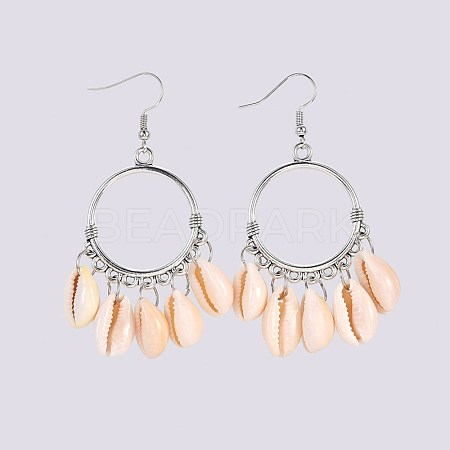 Cowrie Shell Dangle Earrings EJEW-JE02945-1