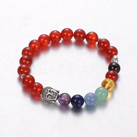 Stretch Buddhist Jewelry Multi-Color Gemstone Chakra BraceletsBJEW-JB01687-03-1
