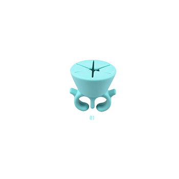 Silicone Wearable Nail Polish Holder, Multifunction Nail Art Finger Ring, PaleTurquoise, 5.5x5.2cm