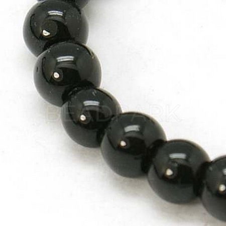 4mm Black Opaque Round Glass Beads Strands Spacer Beads X-GR4mm27Y-1