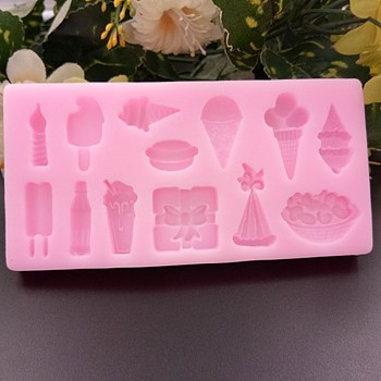 Food Grade Silicone Molds, Fondant Molds, For DIY Cake Decoration, Chocolate, Candy, Soap, UV Resin & Epoxy Resin Jewelry Making, Ice Cream, Pink, 115x58x9mm