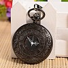 Openable Flat Round Alloy Pendant Pocket WatchWACH-L024-16-2
