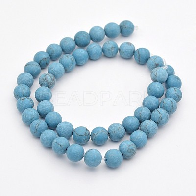 Synthetic Turquoise Round Beads StrandsG-G735-13F-6mm-1