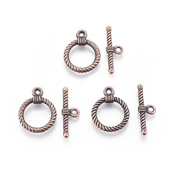 Alloy Toggle Clasps, Red Copper, Ring: 22x17.5x2mm, Hole: 2mm; Bar: 25.5x8x3mm, Hole: 2mm