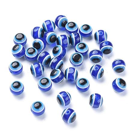 Round Evil Eye Resin BeadsX-RESI-R159-12mm-08-1