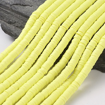 Flat Round Environmental Handmade Polymer Clay Beads, Disc Heishi Beads for Hawaiian Earring Bracelet Necklace Jewelry Making, Champagne Yellow, 6x1mm, Hole: 2mm; about 380~400pcs/strand, 17.7 inches
