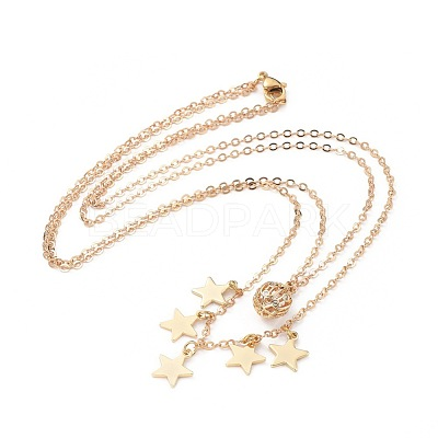 Brass Pendant Layered Necklaces NJEW-JN02537-1