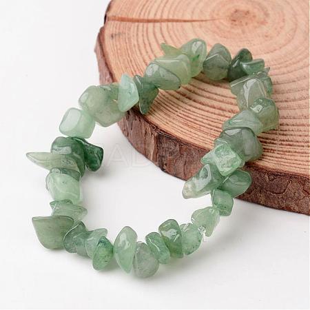 Natural Green Aventurine Chip Beaded Stretch BraceletsBJEW-JB02243-02-1